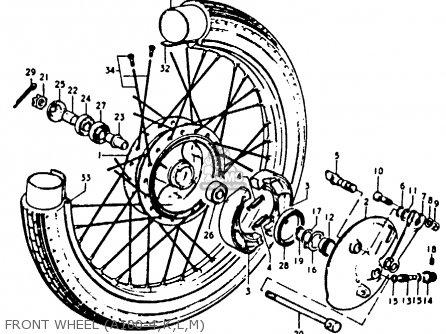 Suzuki A100-4 1978 c General Export e01 Front Wheel a100-4 k l m