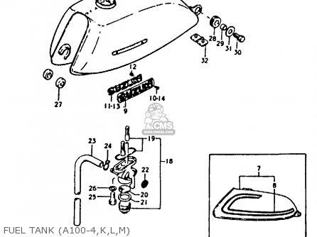 Suzuki A100-4 1978 c General Export e01 Fuel Tank a100-4 k l m
