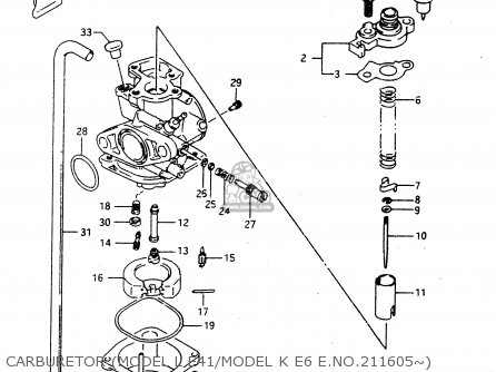 Suzuki Ad50 1994 wfr Carburetor model L E41 model K E6 E no 211605~