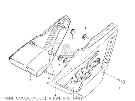 Suzuki Ax100 1994 r Frame Cover model V E94  P36  P48