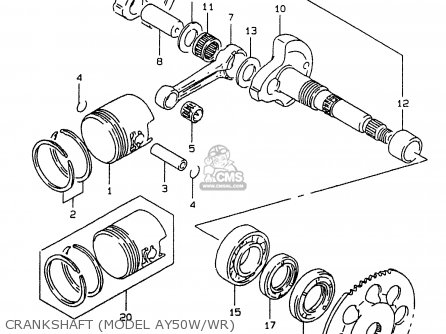 Suzuki Ay50 1999 wx Crankshaft model Ay50w wr
