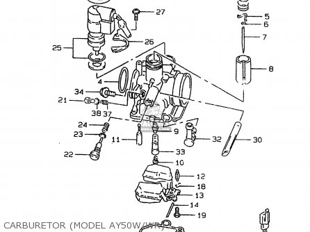 Suzuki Ay50w 1999 x Carburetor model Ay50w wr