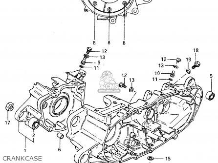 Suzuki Cs125 1983 d e1 E2 E4 E6 E15 E17 E18 E21 E22 E24 E25 E26 E39 Crankcase
