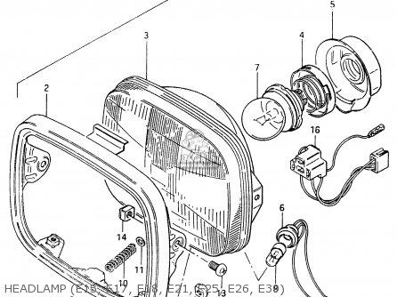 Suzuki Cs125 1983 d e1 E2 E4 E6 E15 E17 E18 E21 E22 E24 E25 E26 E39 Headlamp e15  E17  E18  E21  E25  E26  E39