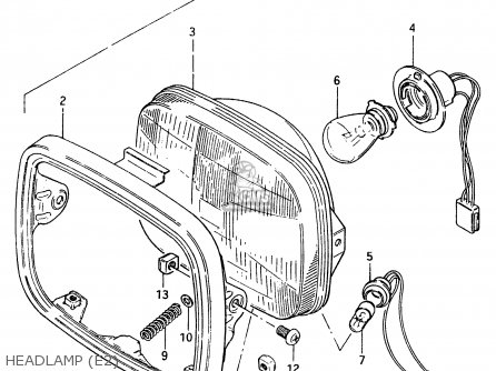 Suzuki Cs125 1983 d e1 E2 E4 E6 E15 E17 E18 E21 E22 E24 E25 E26 E39 Headlamp e2