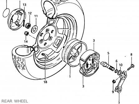 Suzuki Cs125 1983 d e1 E2 E4 E6 E15 E17 E18 E21 E22 E24 E25 E26 E39 Rear Wheel