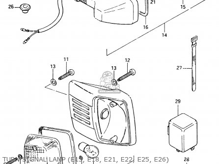 Suzuki Cs125 1983 d e1 E2 E4 E6 E15 E17 E18 E21 E22 E24 E25 E26 E39 Turn Signal Lamp e15  E18  E21  E22  E25  E26