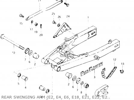 Suzuki Dr250s 1982 z Rear Swinging Arm e2  E4  E6  E18  E21  E22  E25  E39
