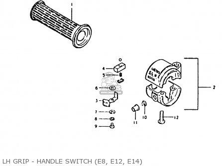 suzuki fr80 1981  x   e02 e08 e12 e14 e95  parts list power switch wiring diagram