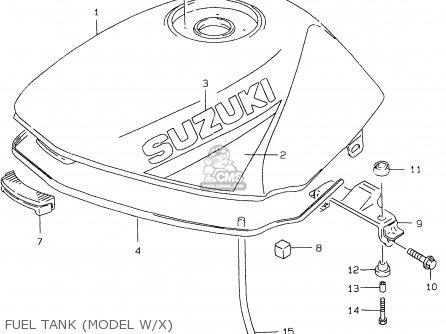 Suzuki Gs500e 1999 x e02 E04 E22 E24 E25 E34 E37 Fuel Tank model W x