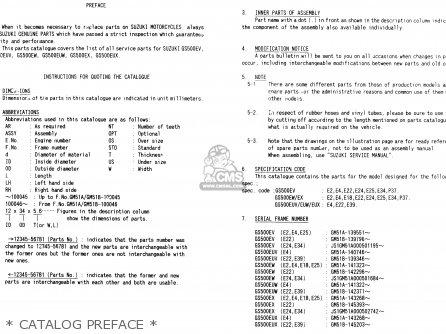 Suzuki Gs500e 1999 x e02 E04 E22 E24 E25 E34 E37   Catalog Preface