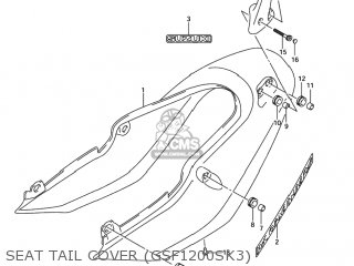 suzuki gsf1200 bandit 2001 k1 usa e03 parts lists and schematics Bandit Custom 1250 seat tail cover gsf1200sk3