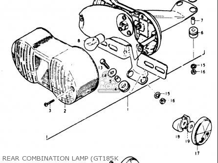 Suzuki Gt185 1973 1974 1975 1976 1977 k l m a b Usa e03 Rear Combination Lamp gt185k