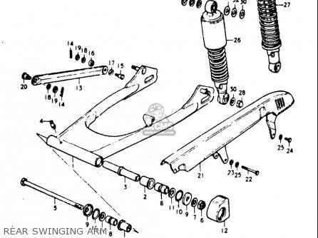 Suzuki Gt185 1973 1974 1975 1976 1977 k l m a b Usa e03 Rear Swinging Arm
