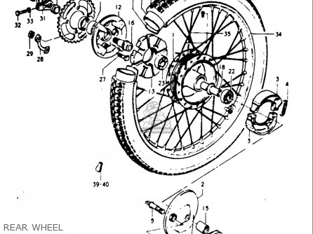 Suzuki Gt185 1973 1974 1975 1976 1977 k l m a b Usa e03 Rear Wheel