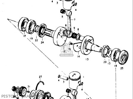 Suzuki Gt185 1973-1977 usa Piston - Crankshaft