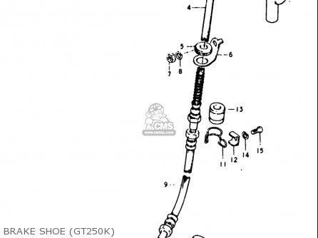 Suzuki Gt250 1973 1974 1975 1976 1977 k l m a b Usa e03 Brake Shoe gt250k