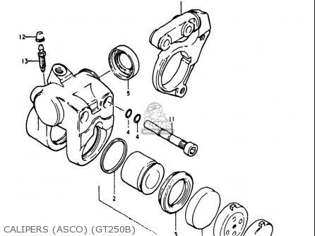 Suzuki Gt250 1973 1974 1975 1976 1977 k l m a b Usa e03 Calipers asco gt250b