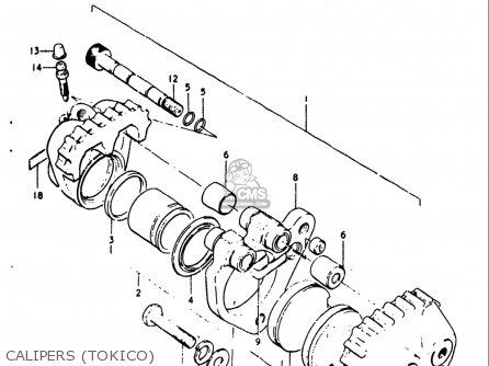 Suzuki Gt250 1973 1974 1975 1976 1977 k l m a b Usa e03 Calipers tokico