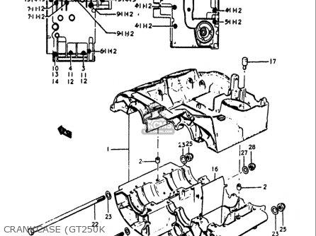 Suzuki Gt250 1973 1974 1975 1976 1977 k l m a b Usa e03 Crankcase gt250k