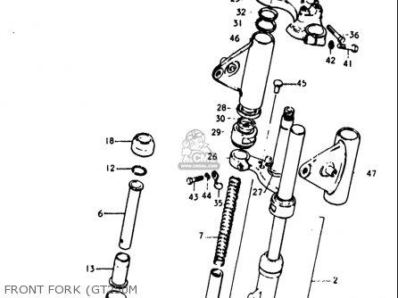Suzuki Gt250 1973 1974 1975 1976 1977 k l m a b Usa e03 Front Fork gt250m