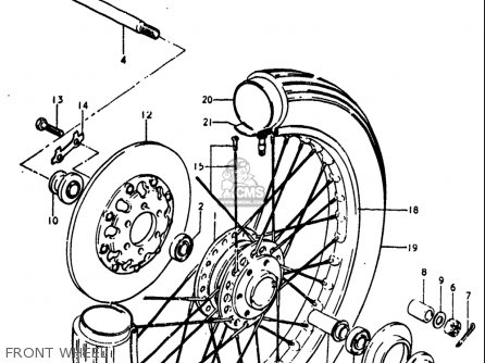Suzuki Gt250 1973 1974 1975 1976 1977 k l m a b Usa e03 Front Wheel
