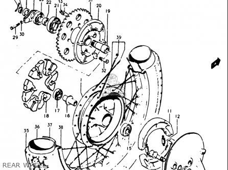 Suzuki Gt250 1973 1974 1975 1976 1977 k l m a b Usa e03 Rear Wheel