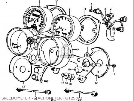 Suzuki Gt250 1973 1974 1975 1976 1977 k l m a b Usa e03 Speedometer - Tachometer gt250b