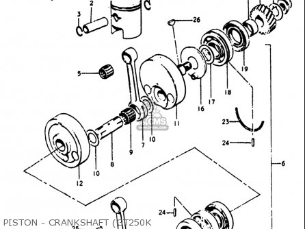 Suzuki Gt250 1973-1977 usa Piston - Crankshaft gt250k