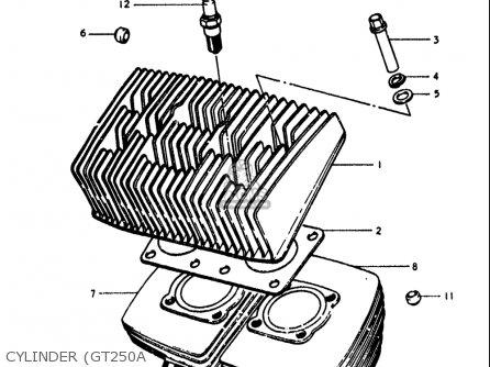 Suzuki Gt250k Gt250l Gt250m Gt250a Gt250b 1973-1977 Usa Cylinder gt250a