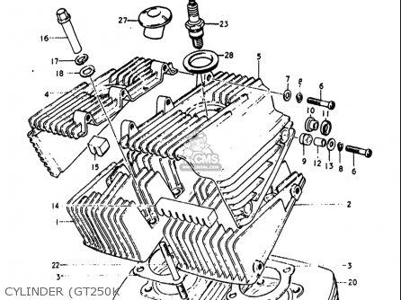Suzuki Gt250k Gt250l Gt250m Gt250a Gt250b 1973-1977 Usa Cylinder gt250k