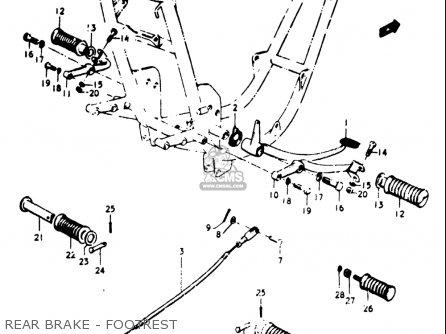 Suzuki Gt500 1976 1977 a b Usa e03 Rear Brake - Footrest