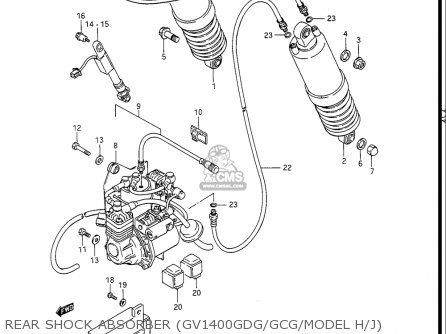 Suzuki Gv1400gc Cavalcade 1986 g Usa e03 Gv1400 Gc Gc1400-gc Rear Shock Absorber gv1400gdg gcg model H j