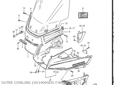 Suzuki Gv1400gc Cavalcade 1986 g Usa e03 Outer Cowling gv1400gdg F no 104471~