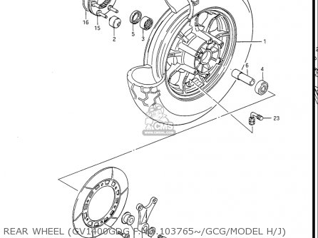 Suzuki Gv1400gc Cavalcade 1986 g Usa e03 Rear Wheel gv1400gdg F no 103765~ gcg model H j