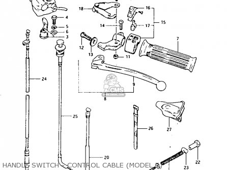 Suzuki Lt-125 1984 e Handle Switch - Control Cable model E