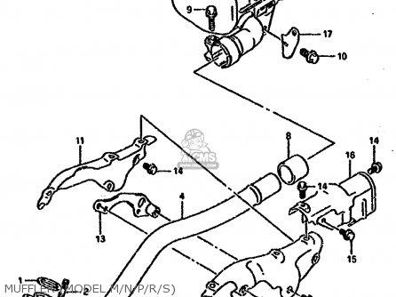 Suzuki Ltf4wd 1988 j United Kingdom Sweden Australia e02 E17 E24 Muffler model M n p r s