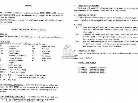 Suzuki Ltf4wdx 1997 v   Catalog Preface