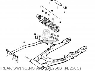 Suzuki Pe250 1977 b Usa e03 Rear Swinging Arm pe250b  pe250c