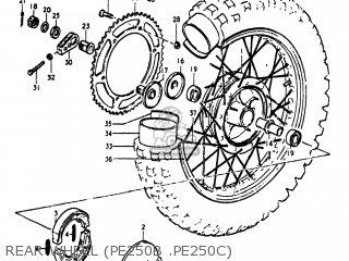 Suzuki Pe250 1977 b Usa e03 Rear Wheel pe250b  pe250c