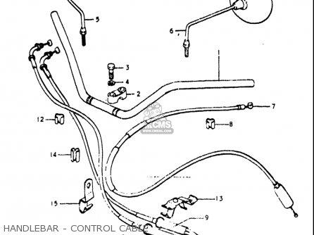 Suzuki Re5 Re5m Re5a 1975 1976 m a Usa e03   497cc Rotary Handlebar - Control Cable