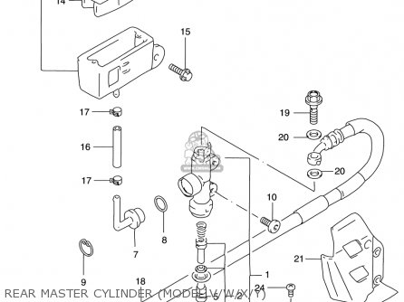 Suzuki Rm125 1996-2000 usa Rear Master Cylinder model V w x y