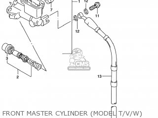Suzuki Rm125 1996 t Usa e03 Front Master Cylinder model T v w