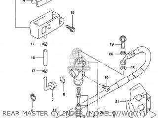 Suzuki Rm125 1996 t Usa e03 Rear Master Cylinder model V w x y