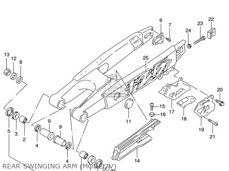 Suzuki Rm125 1996 t Usa e03 Rear Swinging Arm model V