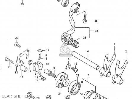 suzuki rm250 1998 (w) (e02 e04 e24 p37) gear shifting  gear shifting  suzuki  rm250