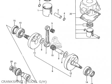 Suzuki Rm80 1986-1995 usa Crankshaft model G h