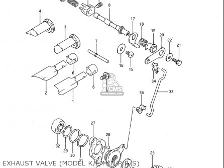 Suzuki Rm80 1986-1995 usa Exhaust Valve model K l m n p r s