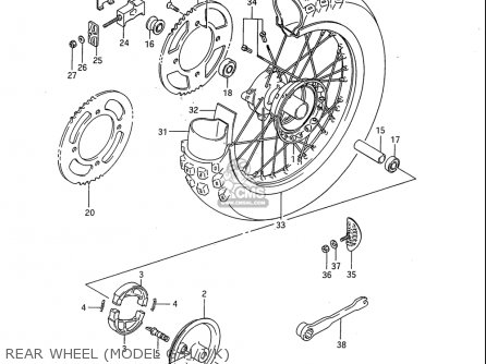 Suzuki Rm80 1986-1995 usa Rear Wheel model G h j k