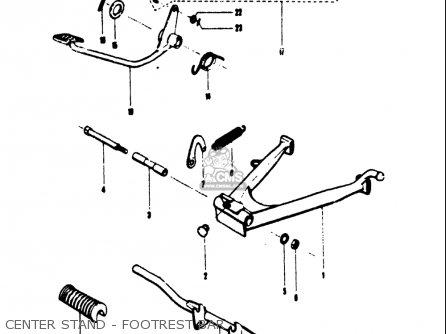 Suzuki T125ii 1971 r Usa e03 Center Stand - Footrest Bar